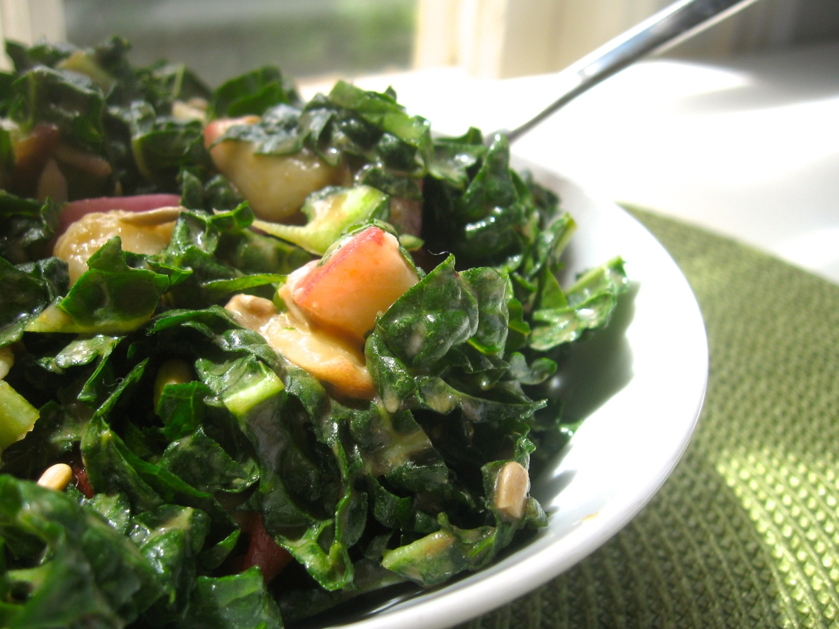 {Decompress your Kale} A Massaged Kale Salad with Peaches, Tomatoes, and Basil - 3 ways)