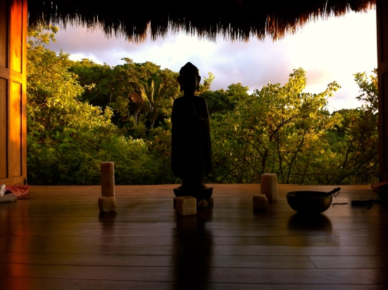 Meditation Yoga Palapa Pavilion with Buddha statue at Haramara Resort in Sayulita Mexico