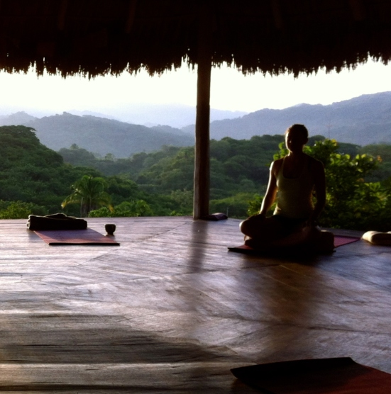 me meditating in a yoga pavillion at haramara retreat in sayulita mexico
